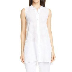 Eileen Fisher Mandarin Collar Textured Tunic Top L